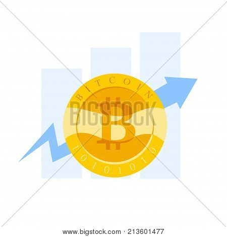 Vector flat business illustration with graph diagram and golgen coin with bitcoin emblem isoalted on white background. Cryptocurrency mining digital money symbol. stock photo
