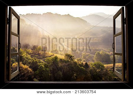 landscape nature view background. view from window at a wonderful landscape nature view with rice terraces and space for your text in Chiangmai Thailand Indochina