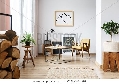 Apartment corner with pictures end table plants wood and a mustard armchair stock photo