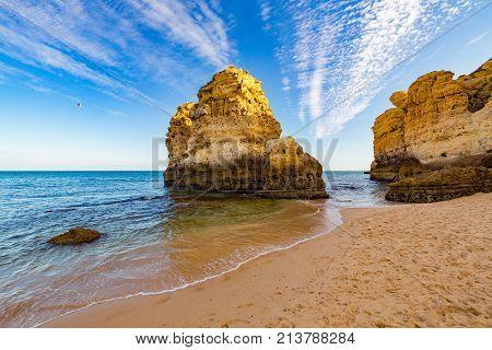 Praia de São Rafael Algarve. Portugal. One of the many beaches in the Portuguese Algarve stock photo