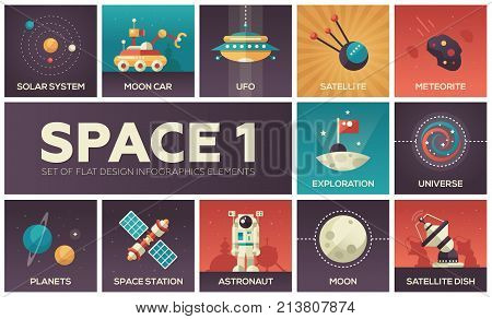 Space - set of flat design infographics elements. Colorful collection of square icons. Solar system, moon car, UFO, sattelite, meteorite, exploration, universe, planets, station, astronaut, dish stock photo