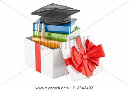 Scholarship for education in gift concept. 3D rendering stock photo