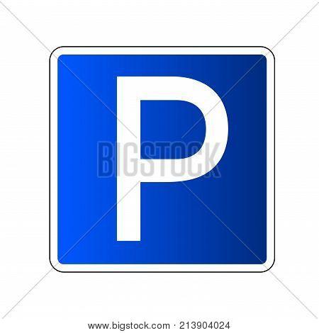 Parking road sign blank. Parking place sign for car. Transport park zone. Roadsign regulation. Transportation parking place. Square blue icon for street parking Vector illustration stock photo