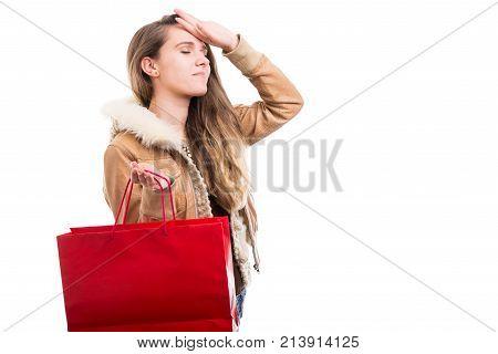 Beautiful Woman Carrying Paper Bag