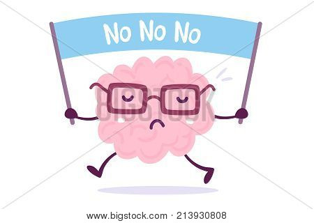 Objection cartoon brain concept. Vector illustration of pink color human brain with glasses holds the banner on white background. Doodle style. Flat style design of character brain for training education theme stock photo