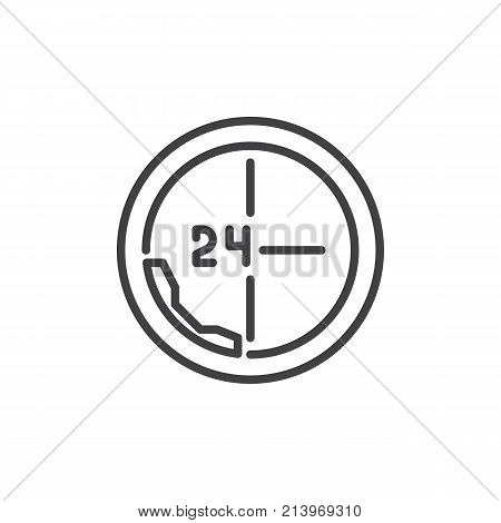 Call 24 hours line icon, outline vector sign, linear style pictogram isolated on white. All day support symbol, logo illustration. Editable stroke