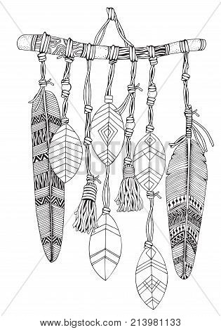 Dreamcatcher with feathers and branches. Doodle style. Black and white. Hand drawn Adult Coloring Book page with cozy Dream Catcher. stock photo
