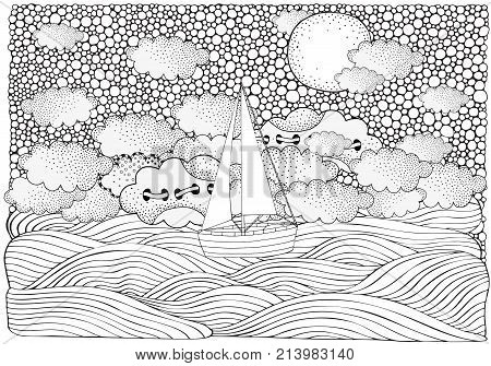 The Boat floating on the waves. Night moonwaves boat sea art background. Hand-drawn doodle vector. Zentangle style. Vector pattern for adult coloring book. Black and white. stock photo