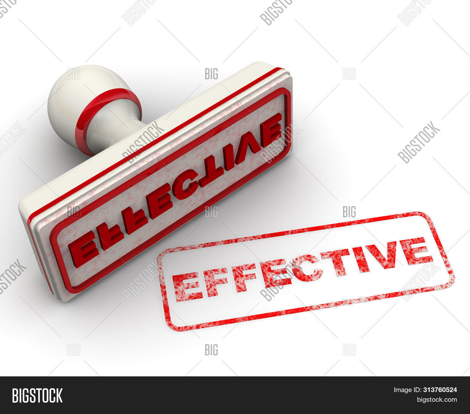 Effective. Seal And Imprint. Red Seal And Red Imprint With Word Effective On White Surface. Isolated