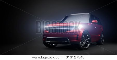 Modern red SUV car in garage with lights turned on. Front view. 3D illustration. Generic brandless contemporary vehicle. stock photo
