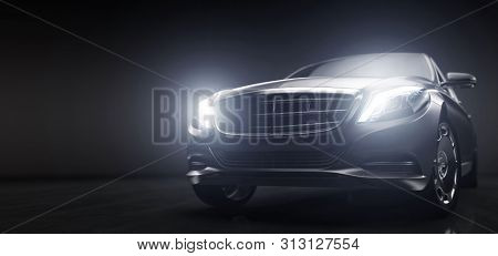 Luxurious car, limousine in garage with lights turned on. Vip transport. Generic and brandless yet contemporary and elegant look. 3D illustration stock photo