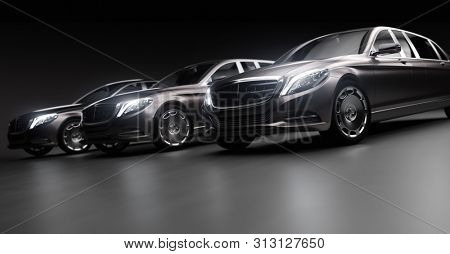 Luxurious cars, limousines in garage with lights turned on. Generic and brandless yet contemporary and elegant look. 3D illustration stock photo