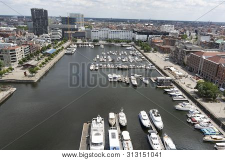 Cityscape, old Belgian city Antwerpen, view from above in summer stock photo