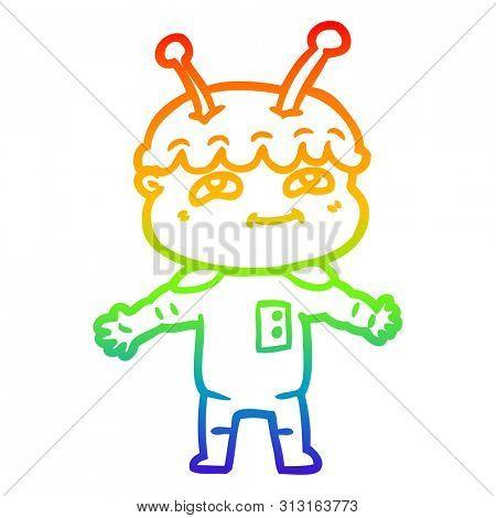 rainbow gradient line drawing of a friendly cartoon spaceman with open arms stock photo
