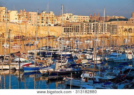 View on Malta bay between Kalkara and Birgu with yachts at  morning time stock photo