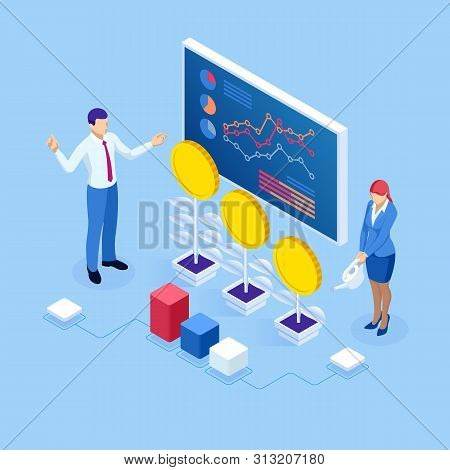 Isometric concept of business analysis, analytics, research, strategy statistic, planning, marketing, study of performance indicators. Investment in securities, smart investment, strategic management stock photo