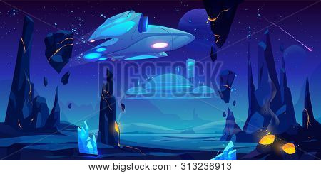 Spaceship, interstellar station hover above alien planet surface, neon space background with flying rocks, dark starry sky, fantasy extraterrestrial landscape with craters. Cartoon vector illustration stock photo