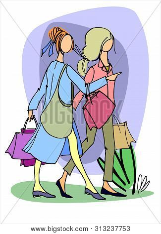 Two young women with shopping bags. Hand drawn vector illustration. Concept of shopping, retail, sale. Isolated design element stock photo