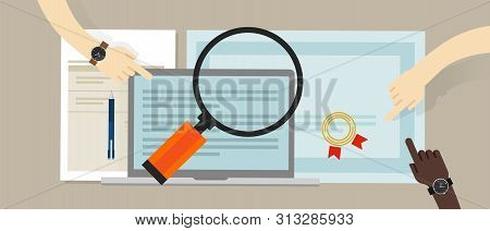 certified internal auditor financial certification and information technology company hand working on data with magnifiera stock photo