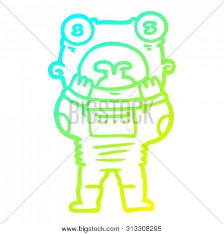 cold gradient line drawing of a cartoon alien gasping in surprise stock photo