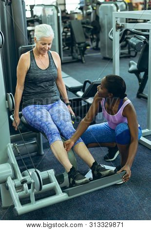 Front view of beautiful African-american female trainer assisting active senior Caucasian woman to work out on leg curl machine in fitness center. Bright modern gym with fit healthy people working out stock photo