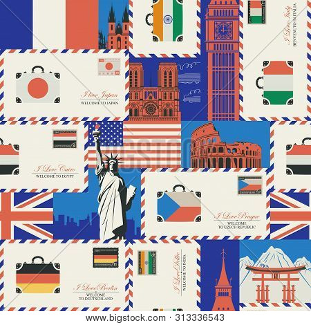 Vector seamless pattern on the theme of travel to various countries of Europe, Asia and America. Retro background with envelopes, flags and architectural landmarks. Wallpaper, wrapping paper, fabric stock photo