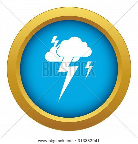 Cloud and lightning icon blue vector isolated on white background for any design stock photo