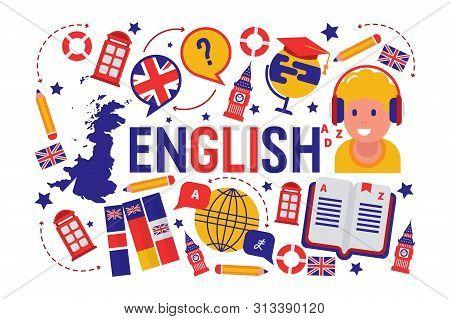 British english language learning class vector illustration. Brittish flag logo, England, dictionary, Big Ben, girls cartoon character in earphones, english language exchange program. stock photo