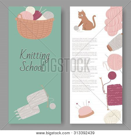 Knitting School And Arts And Crafts Vector Set Of Banners. Wool Balls, Knitted Goods And Knitting To