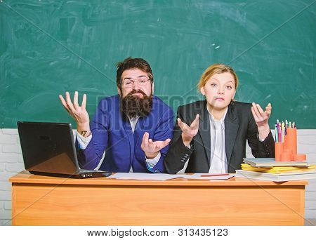 Interviewing enrollee. Teacher principal decide who will enter private school. Private elite school. College enrollee. Entrance examination. Apply to enter high school. Selection committee concept stock photo