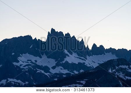 Sunset on the Minarets, as seen from the Mineret Vista overlook point in Mammoth Lakes California in the Eastern Sierra Nevada mountains stock photo