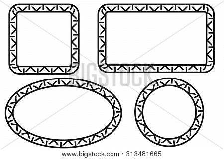 Vector Black Square Rectangle Circle and Oval Frame for Certificate, Placard Go Xi Fat Cai, Imlek Moment or other China Related, at White Background. stock photo