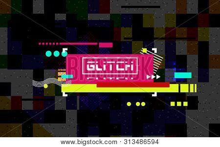 Glitch banner on dark backdrop. Color distortion with random tiles. Modern concept. Abstract horizontal lines. Chaotic geometric shapes. No signal pixel noise. Vector illustration stock photo
