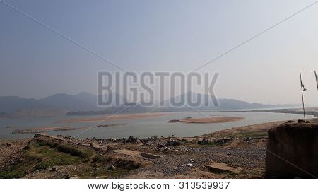 godavari river at polavaram dam construction andhra pradesh, India stock photo