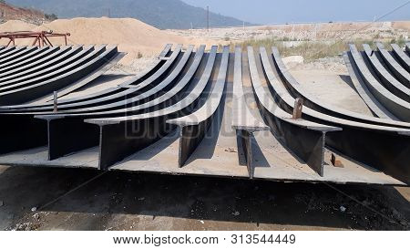 Polavaram, Andhra Pradesh / India - December 25th 2018 : Iron roads for National project Polavaram Dam under construction on Godhavari river, India stock photo