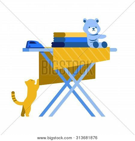 Stack Baby Clothes on Ironing Board on White Background. Cat Plays with Baby Diaper. Training for Women. Vector Illustration. Be Mom. Training for Housewives. Fold Clothes. Clean Up House. stock photo