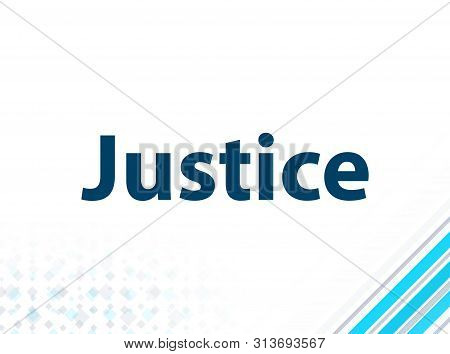 Justice Isolated on Modern Flat Design Blue Abstract Background stock photo
