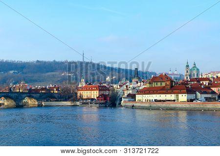 Beautiful view of Charles Bridge, Vltava River Embankment, Kampa Island, Petrshin Hill in Prague, Czech Republic stock photo
