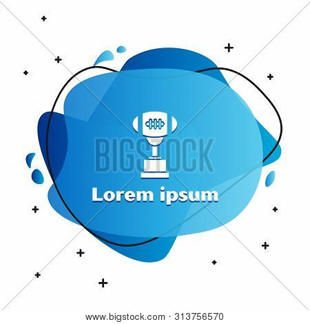 White Award cup and American football ball icon isolated on white background. Winner trophy symbol. Championship or competition trophy. Abstract banner with liquid shapes. Vector Illustration stock photo