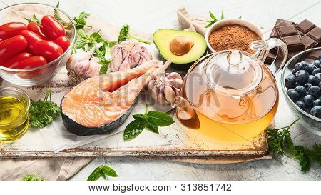 Anti-Aging foods. Foods high in antioxidants, vitamins  and minerals. Panorama, banner stock photo