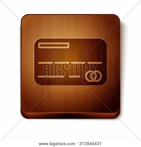 Brown Credit card icon isolated on white background. Online payment. Cash withdrawal. Financial operations. Shopping sign. Wooden square button. Vector Illustration stock photo