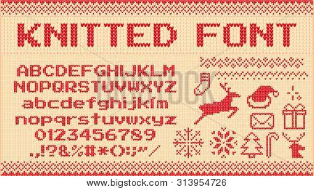 Winter sweater font. Knitted christmas sweaters letters, knit jumper xmas pattern and ugly sweater knits. Norwegian holiday knit sweater abc and number, new year jumper vector illustration signs set stock photo
