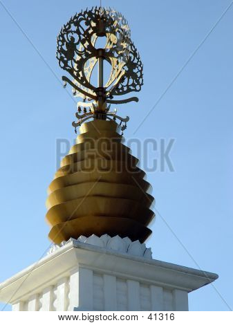 Top of the Peace Pagoda with Prayer Bells for Meditation stock photo