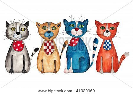 Chats. aquarelles sur papier
