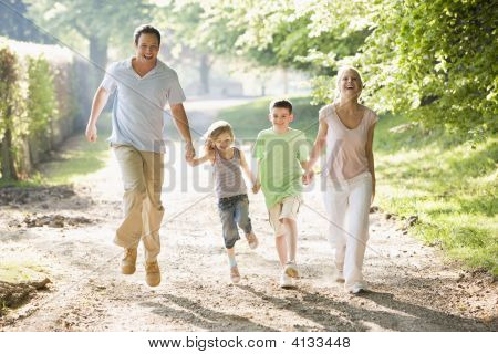 Families going for walk in park stock photo