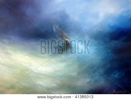 Paysage marin tempête dans l'océan indien