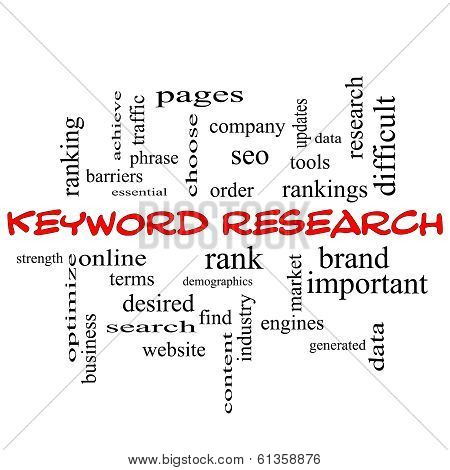 Keyword Research Word Cloud Concept in red caps with great terms such as rankings order phrase and more. stock photo