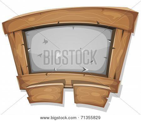 Illustration of a cartoon design funny wooden and stone dashboard with buttons and interface elements for ui pedagogics software or commercial agreement on tablet pc devices stock photo