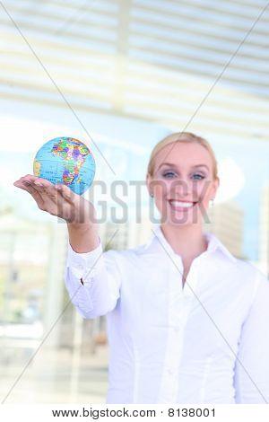 Beautiful Woman With Globe
