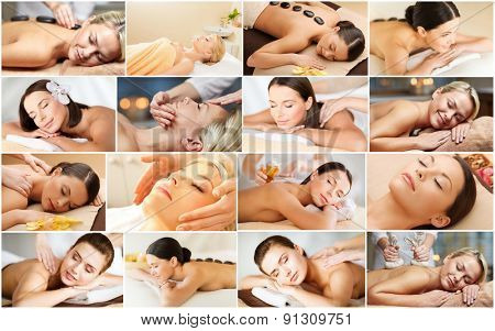 beauty, healthy lifestyle and relaxation concept - collage of many pictures with beautiful young wom